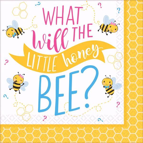 """Bild von 16 SERVIETTEN BABYSHOWER """" WHAT WILL THE LITTLE HONEY BEE?"""" Groß"""