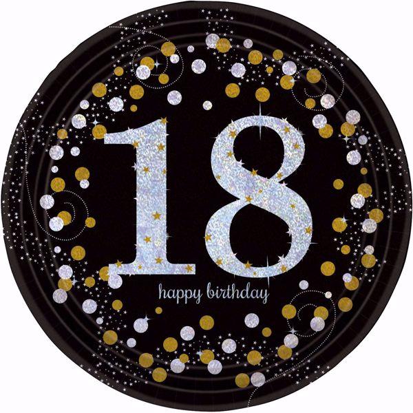 Picture of 8 Teller 18 Sparkling Celebrations Papier rund gold prismatisch 22,8 cm