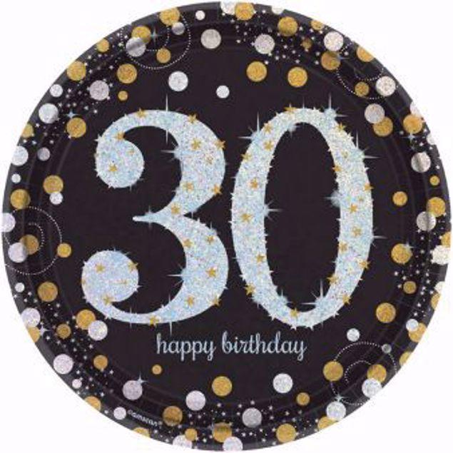 Picture of 8 Teller 30 Sparkling Celebrations Papier rund gold prismatisch 22,8 cm