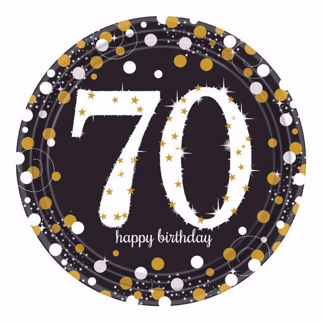 Picture of 8 Teller 70 Sparkling Celebrations Papier rund gold prismatisch 22,8 cm