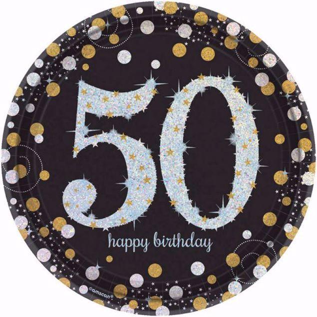 Picture of 8 Teller 50 Sparkling Celebrations Papier rund gold prismatisch 22,8 cm