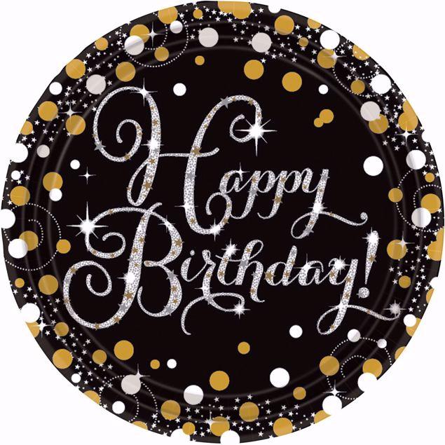 Bild von 8 Teller Happy Birthday Sparkling Celebrations Papier rund gold prismatisch 22,8 cm