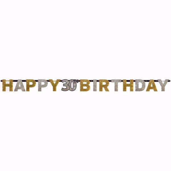 Picture of Partykette 30 Sparkling Celebration - Silver & Gold prismatisch