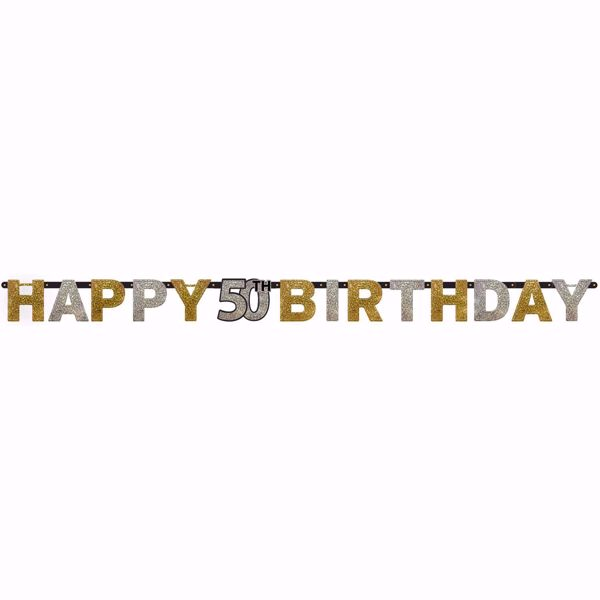 Picture of Partykette 50 Sparkling Celebration - Silver & Gold prismatisch