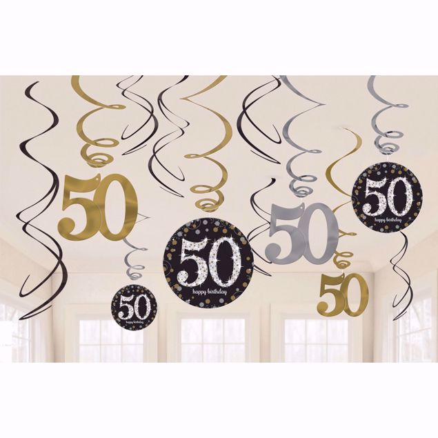 Picture of 12 Deko-Spiralen 50 Sparkling Celebration - Silver & Gold