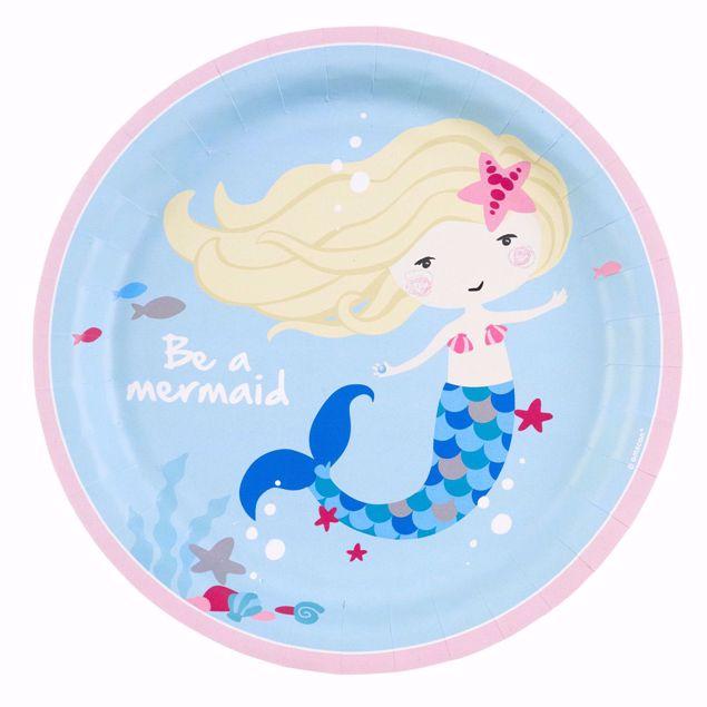 Bild von 8 Teller Be a Mermaid Papier rund 22,8 cm