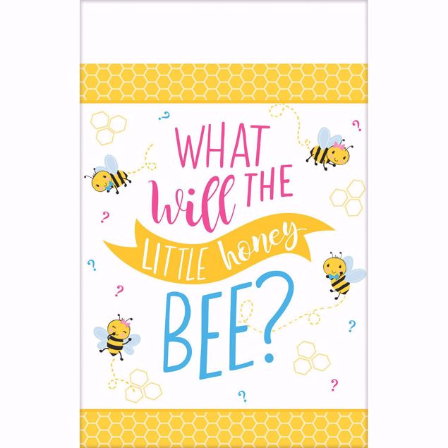 "Picture of Tischdecke Babyshower "" What will the little honey bee?"" 140cm X 360cm"