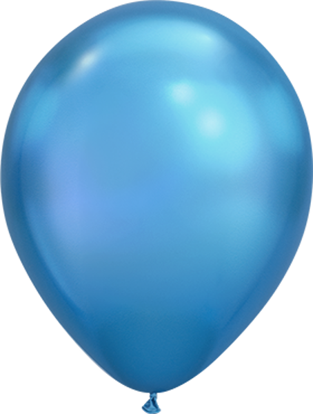 "Bild von Latexballon Rund Qualatex Chrome Blau 27,5 cm/11"""