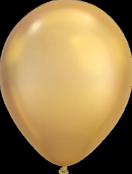 "Bild von Latexballon Rund  Qualatex Chrome Gold 27,5 cm/ 11"""