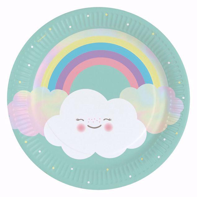 Bild von Teller Rainbow & Cloud Papier rund 22,8 cm