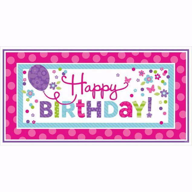 Picture of Riesen-Partyschild Birthday Accessories - pink & türkis 165 x 85 cm