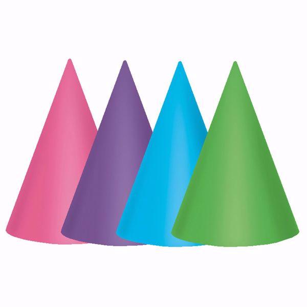 Bild von 12 Partyhütchen Birthday Accessories pink & türkis 17,7 cm