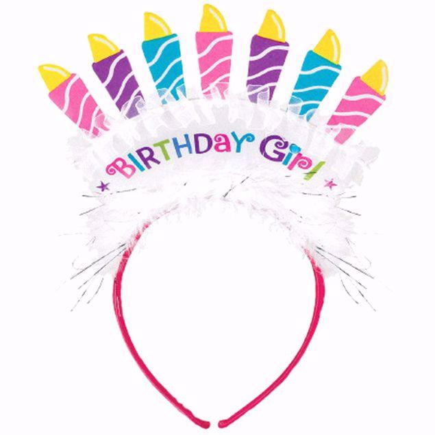 Bild von Haarreif Birthday Girl Papier mit Gewebe 27,9 cm