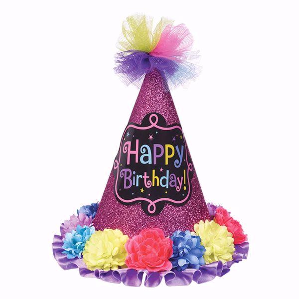 Picture of Partyhut Birthday Chic Papier mit Gewebe 22,8 cm