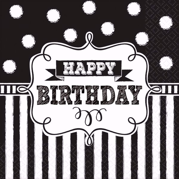 Picture of 16 Servietten Chalkboard Birthday 25 x 25 cm