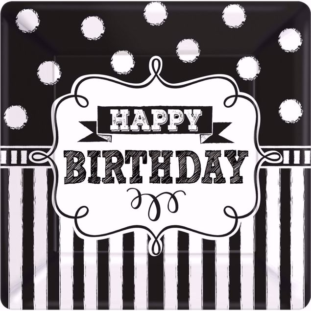 Picture of 8 Teller Chalkboard Birthday Papier quadratisch 25,4 x 25,4 cm