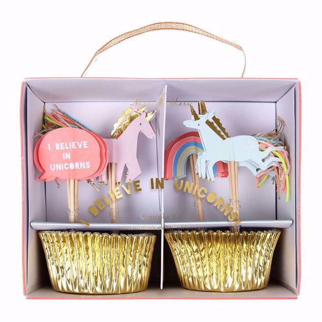 Picture of Einhorn Cupcake Muffin Set -I Believe In Unicorns Cupcake Kit 24 Stück