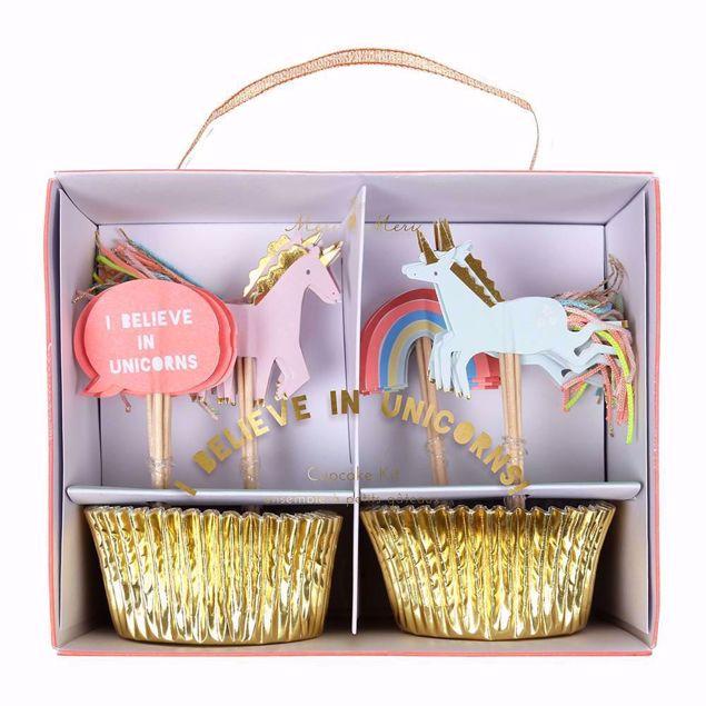Bild von Einhorn Cupcake Muffin Set -I Believe In Unicorns Cupcake Kit 24 Stück