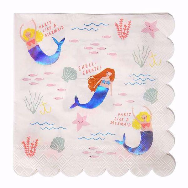 Bild von Meerjungfrau Servietten Groß - Let's Be Mermaids Napkins Large 16,5cmx16,5cm
