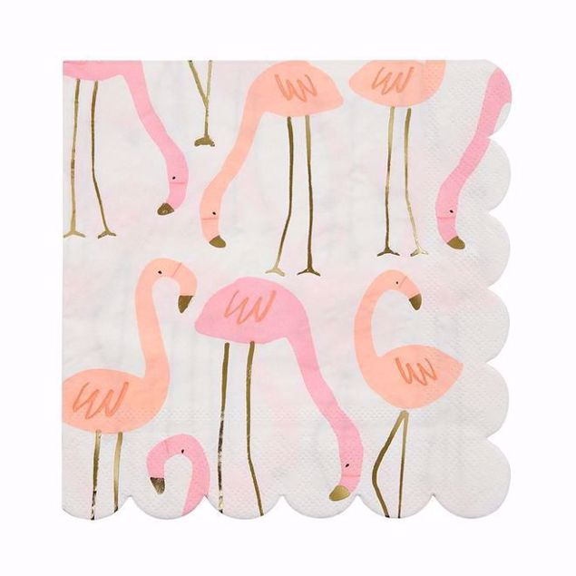 Picture of Flamingo Servietten Groß - Flamingo Napkins large 16,5 cm x 16,5 cm