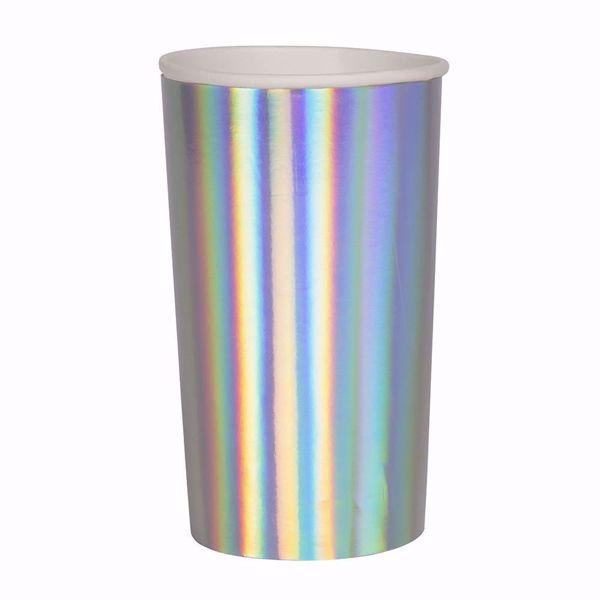 Bild von Silber Holographic Partybecher Party cups 200 ml