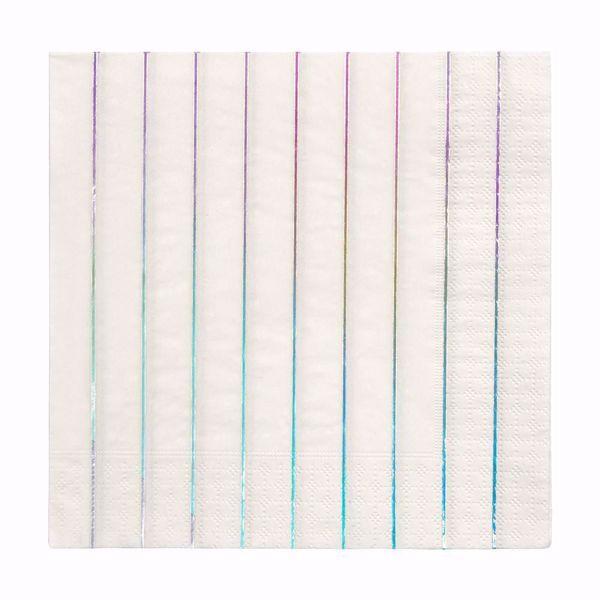 Picture of Holographic Silber Streifen  Servietten Napkins 16,5 cm x 16,5 cm