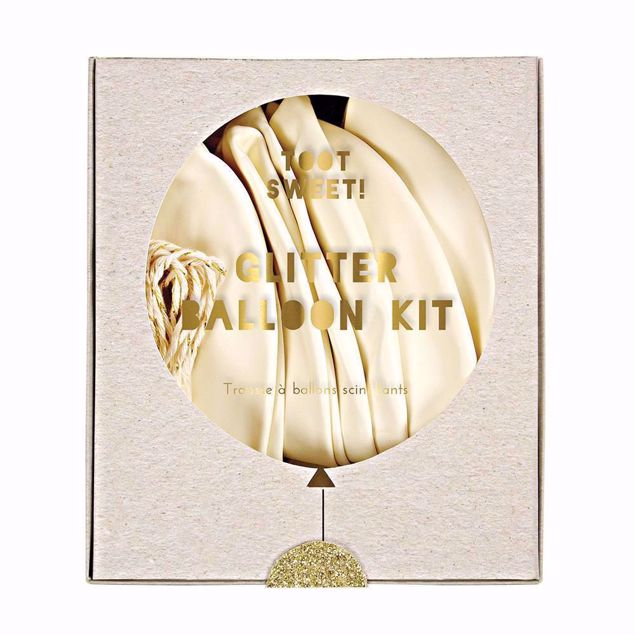 Picture of Latexballon Set Kit Weiß Gold Herz Glitter 8 Stück