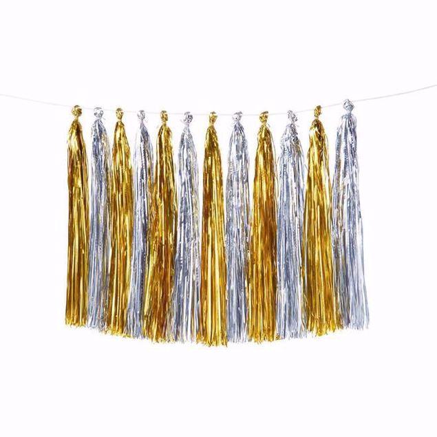 Bild von Girlande Tassel Gold Silber