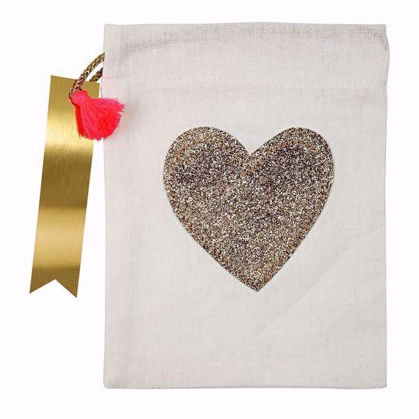 Bild von Geschenktüten Give away Herz Gold Glitzer  15cm x 20 cm