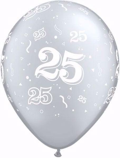 Picture of Latexballon 25 Geburtstag Silberne Hochzeit Silber 11 inch