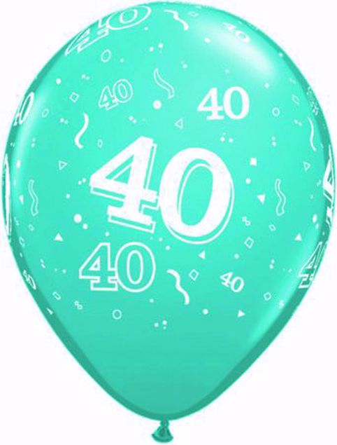 Picture of Latexballon 40 Geburtstag Türkis  11 inch