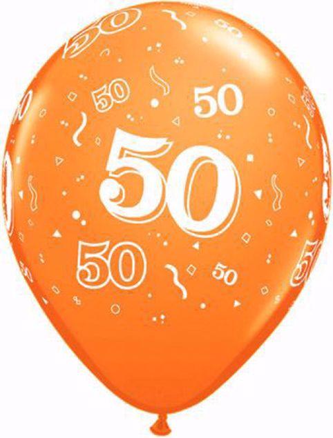 Picture of Latexballon 50 Geburtstag Orange 11 inch