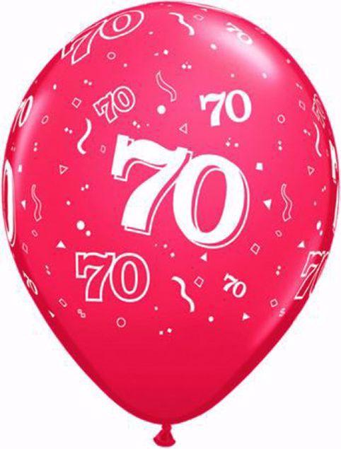 Bild von Latexballon 70 Geburtstag Ruby Rot 11 Inch