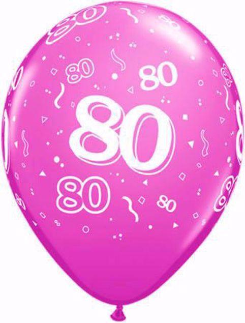 Picture of Latexballon 80 Geburtstag Fashion Wild Berry 11 Inch