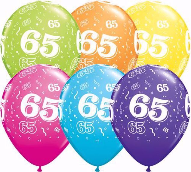 Picture of Latexballon 65 Bunt Geburtstag 11 inch