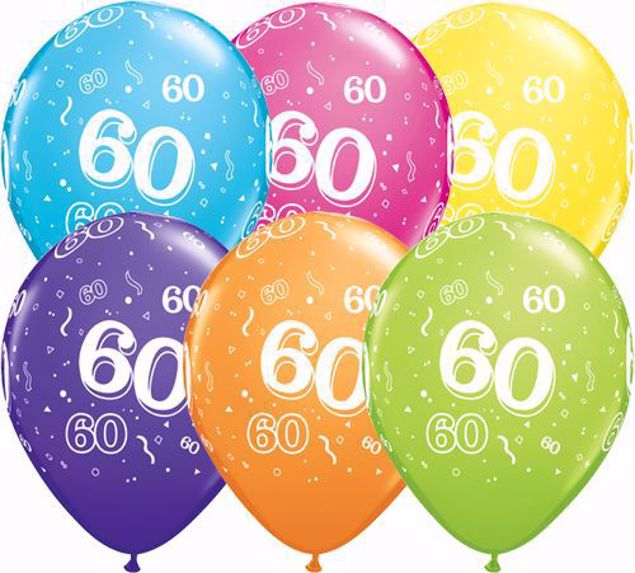Picture of Latexballon 60 Bunt Geburtstag 11 inch