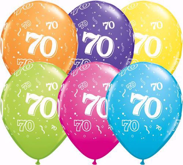 Picture of Latexballon 70 Bunt Geburtstag 11 inch