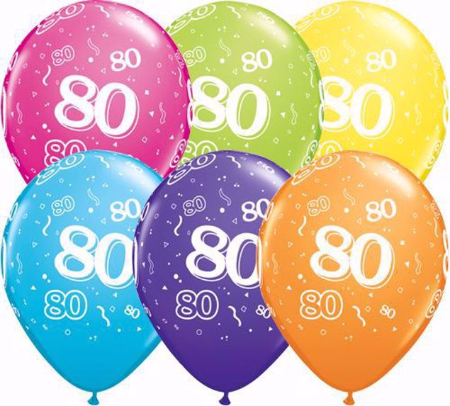 Picture of Latexballon 80 Bunt Geburtstag 11 inch
