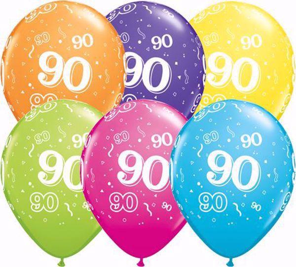 Picture of Latexballon 90 Bunt Geburtstag 11 inch
