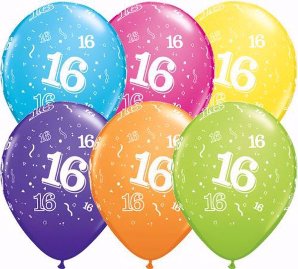 Picture of Latexballon 16 Bunt Geburtstag 11 inch