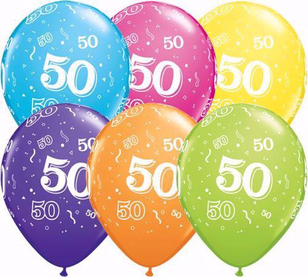 Picture of Latexballon 50 Bunt Geburtstag 11 inch