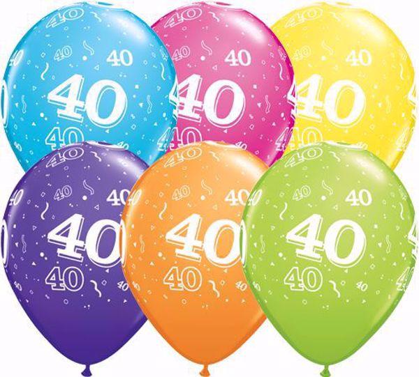 Picture of Latexballon 40 Bunt Geburtstag 11 inch