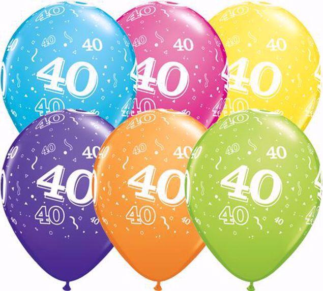 Bild von Latexballon 40 Bunt Geburtstag 11 inch