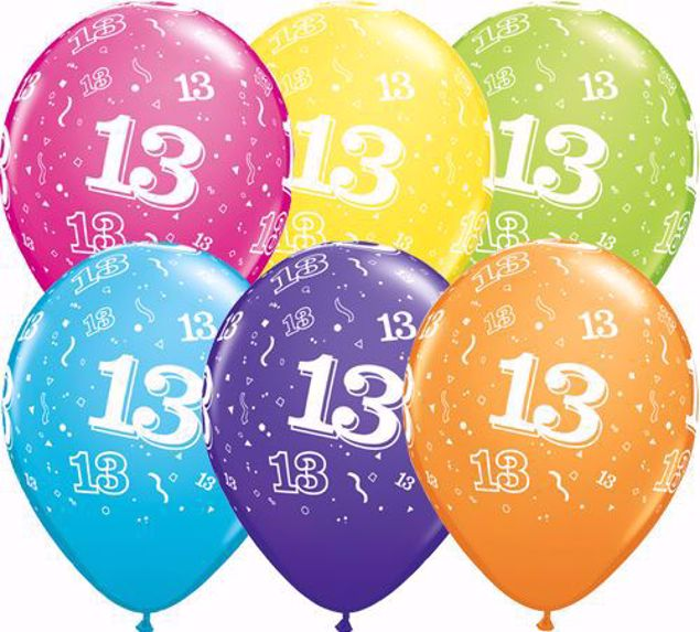 Picture of Latexballon 13 Bunt Geburtstag 11 inch