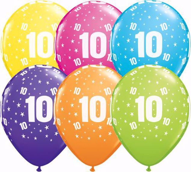 Picture of Latexballon 10 Bunt Geburtstag 11 inch