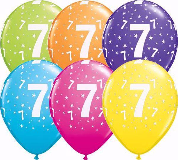Bild von Latexballon 7 Bunt Geburtstag 11 inch