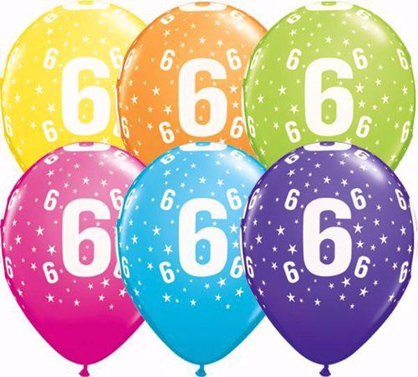 Bild von Latexballon 6 Bunt Geburtstag 11 inch