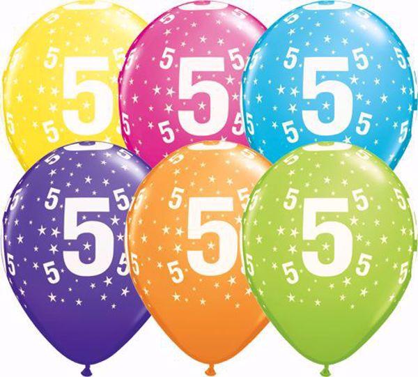 Picture of Latexballon 5 Bunt Geburtstag 11 inch
