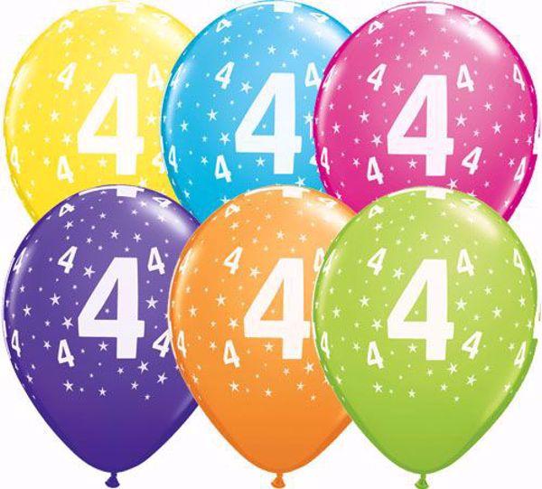 Picture of Latexballon 4 Bunt Geburtstag 11 inch