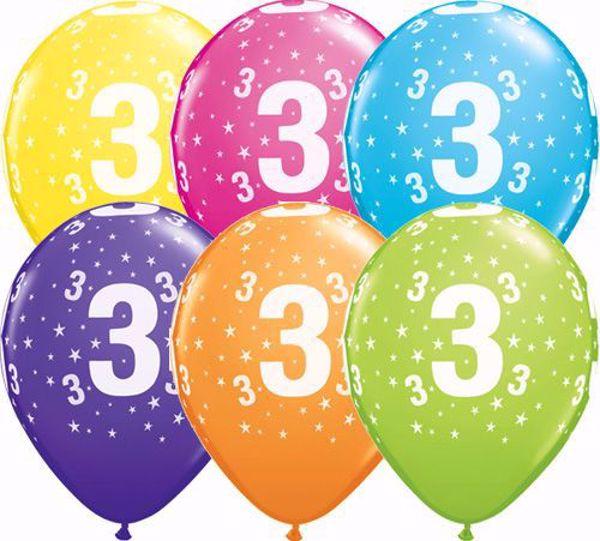 Picture of Latexballon 3 Bunt Geburtstag 11 inch